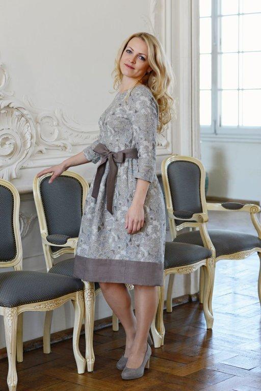 Lina/kokvilnas pasteļu kleita