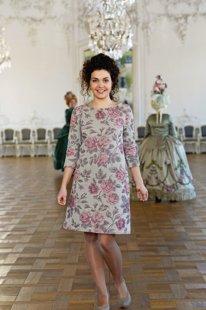 Lina žakarda kleita ar rozēm